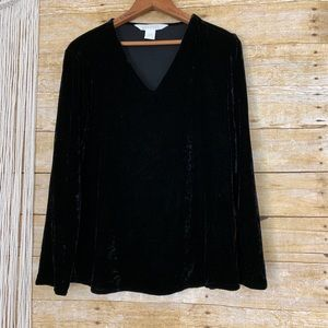 Vintage Express Velvet Long Sleeve V-Neck